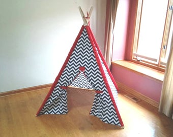 Teepee  Navy and White Chevron with red accents or Pick your color Chevron Tent , Kids tent Made to Order boys teepee