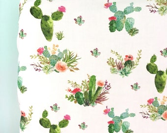 Baby Bedding Crib Bedding - Cactus Crib Sheet, Cactus Flowers, Pink Floral - Changing Pad Cover or Fitted Crib Sheet - Baby Girl - Shower
