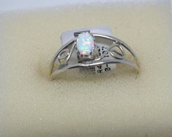 Sterling Silver Fire Ice White Opal