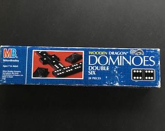 Vintage Milton Bradley box of Wooden Dragon Dominoes, 28 pieces, 1983