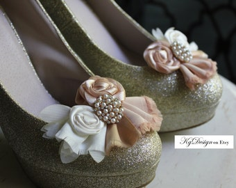 Wedding or Dress- Bright Champagne, rolled rosette shoe clipswith rhinestone pearl accent