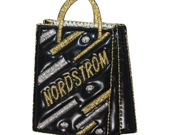 ID 8522 Nordstrom Shopping Bag Patch Store Pleather Embroidered Iron On Applique