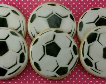 Soccer Ball Sugar Cookies - 12 Decorated Sugar Cookies
