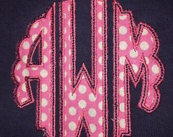Adult Scallop Applique Monogram Navy Short Sleeve T-Shirt