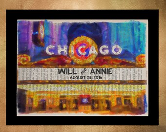 Chicago Theater Marquee Dictionary Art Print, Personalized Wedding Gift Customized Anniversary Gift da1210