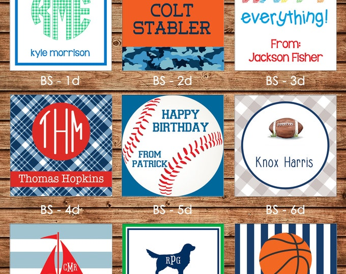 24 Printed Boy Square Gift Tags Enclosure Cards Stickers - Can personalize - Choose ONE design