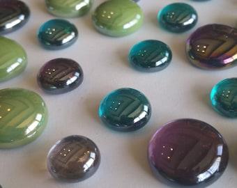 Mosaic Tiles, Peacock Flat Back Glass Gem Mix - 50 Gems - Green, Purple, Teal, Flat Marbles, Floral, Wedding, Vase Filler, Pebbles, Tiles