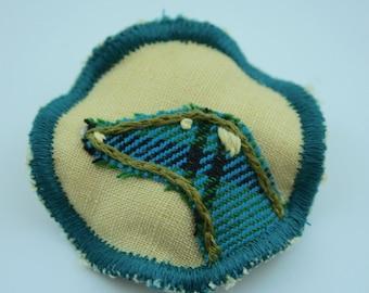 Broche en tissu cercle - Greyhound Tartan jaune