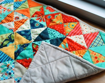 Quilted Table Runner Triangles Orange Blue Green Red Yellow Machine Quilted