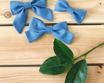RTS Blue Hair Bow | Mini Sailor Bow Headband | Hair Bows for Girls | Baby Head Bows | Baby Girl Hair Clips | Hair Bows by Oh Elle