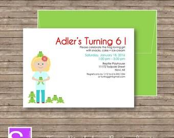 Frog Birthday Party Invite Printable DIY-  Girl