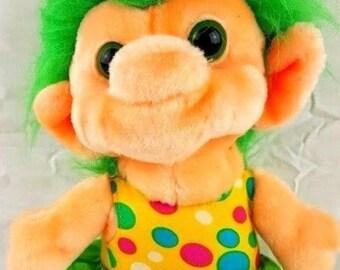 "Trolio Trolls Doll Plush Green Hair 10"" Polka Dot Dress 1992"