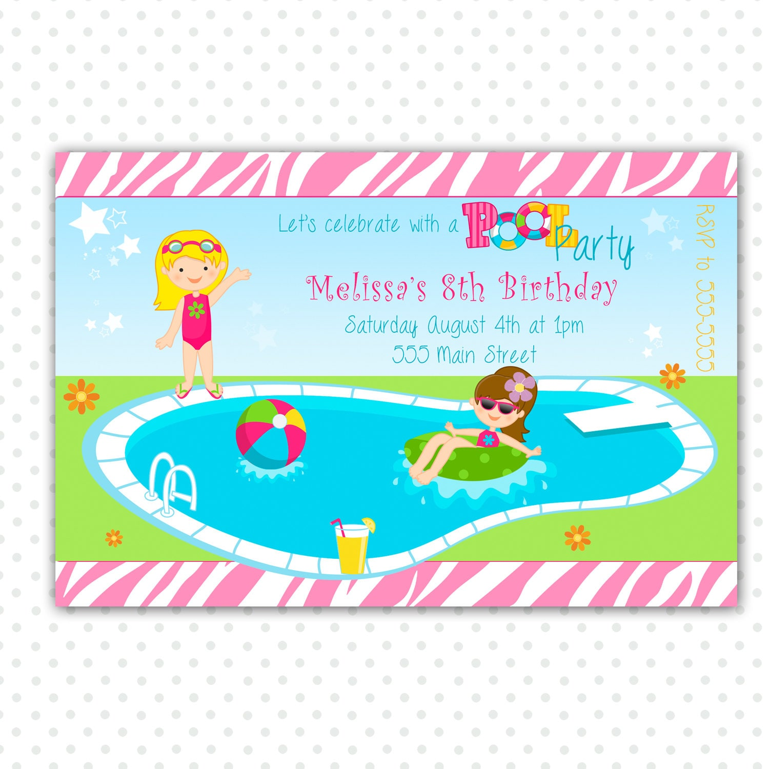 Pool Party Birthday Invitation for Girl Printable
