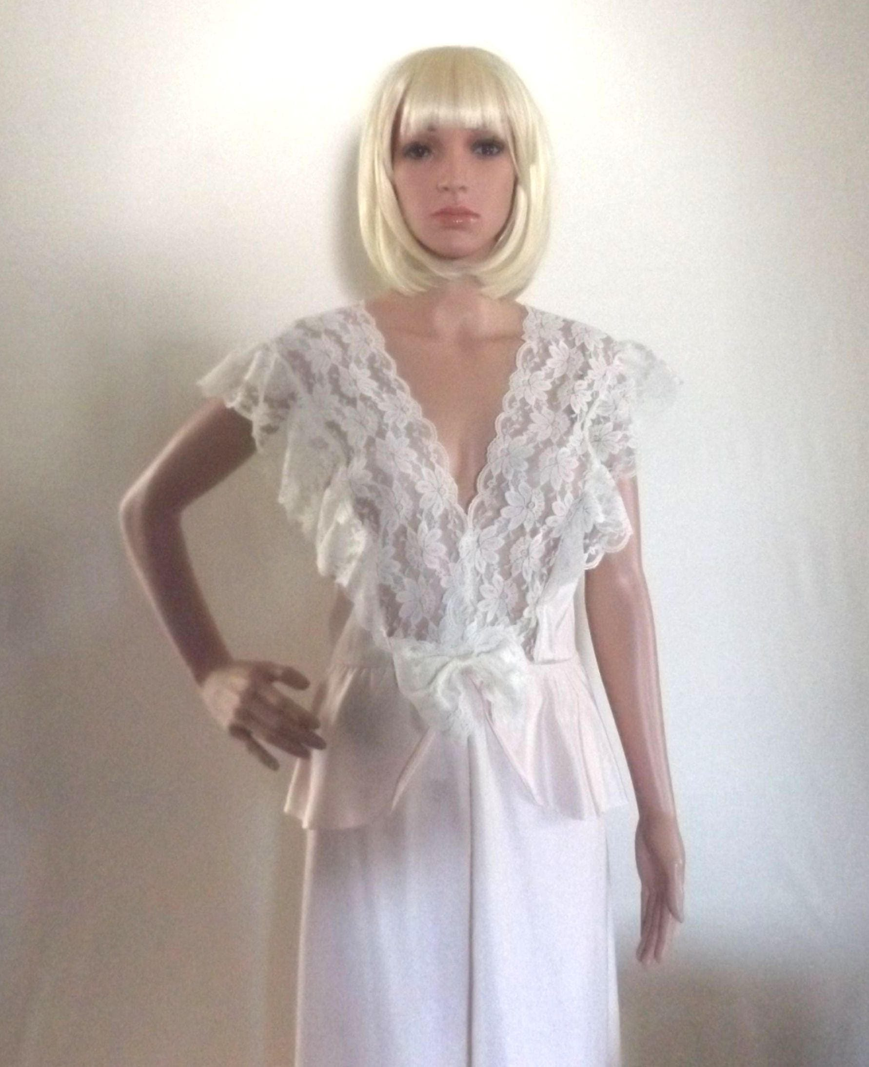 soft pink nightgown vintage full length gown w sexy sheer