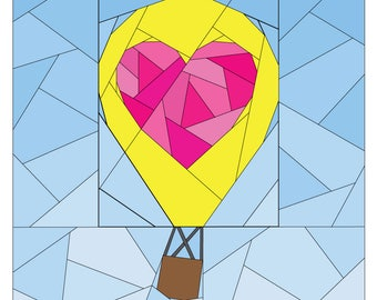 Hot Air Balloon Pattern - Rise Above Add-on: Geometric Heart  - Paper Piecing Quilt Pattern - #261 PDF
