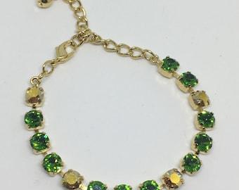 Swarovski Emerald Green and Gold 6mm Bracelet
