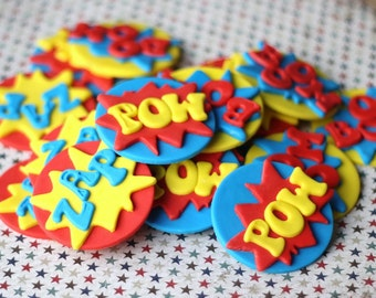 Fondant Cupcake Toppers Boy Superhero-Themed  - Perfect for Cupcakes, Cookies and Other Edibles