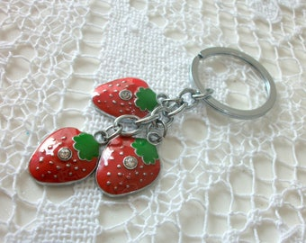 Door key Keychain 3 Strawberry red with Rhinestone 84mm for bag accessory