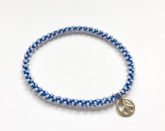 Stackable silver peace yoga charm bracelet Ajna (third eye chakra)