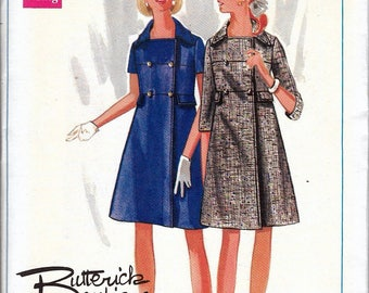 "Vintage 60's  Butterick Boutique 4992 Mod Double-breasted Coat Dress Sewing Pattern Size 12 Bust 34"" UNCUT"