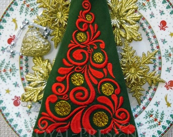 Machine Embroidery Design Red Christmas Tree - 3 sizes