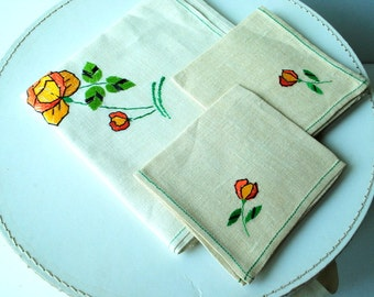 Mod style vintage 60s off white linen, square, small tablecloth with a two matching napkins and rose hand embroidery