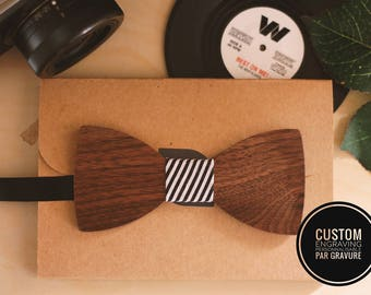 Ceremonial wood bow tie can be personalized with name engraved, men husband gift, custom bowtie