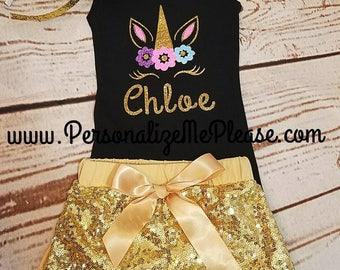 Unicorn Birthday Outfit, Black Tank Top, Unicorn Tank Top, Girl Unicorn Birthday Outfit, Black Tank Top Unicorn Shirt, Gold Sequin Shorts
