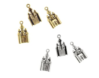 Antique Style Metal Castle Charms, 1-Inch, 18-Count
