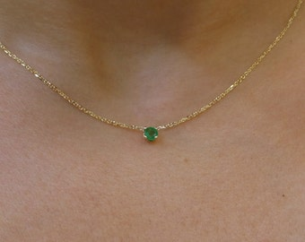 Emerald Necklace / 14k Gold Emerald Solitaire Necklace / Delicate Emerald Necklace / Dainty Emerald / Green Emerald Necklace / May Birthston