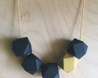 Geometric Bead Necklace - Black and Gold