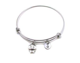 Pig Charm Bracelet, Pig Bangle Bracelet, Pig Jewelry, Pig Bracelet, Silver Pig Charm, Expandable Charm Bracelet, Initial Bracelet, Tiny Pig