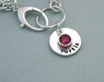 Personalized Birthstone Bracelet - Hand Stamped Sterling Silver and Swarovski Crystal - Dog Lover