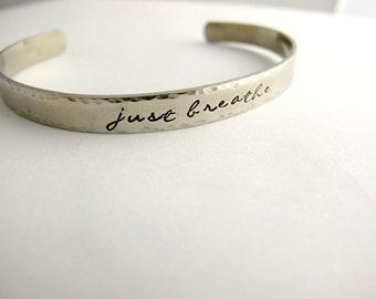 Just Breathe, Inspirational Jewelry, Yoga, Serenity, Lotus Flower, Silver Bracelet Cuff