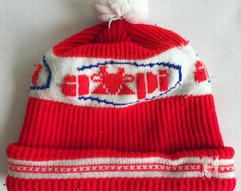 Vintage AMPI skull cap // Association of Milk Producers Inc hat // winter puffball hat