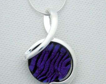 purple fused glass pendant - zebra - silver setting - dichoric glass jewelry - fused glass jewelry - OOAK