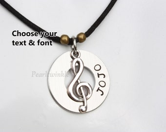 Personalized Name Music Pendant Necklace, Treble Clef Pendant, Glee Club, Gift For Music Lovers Musicians Singers Choir Band, Music Gift