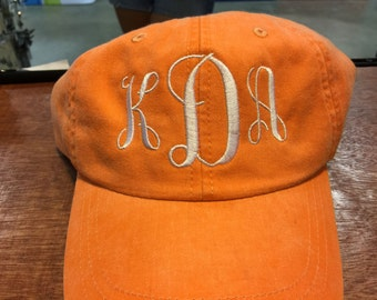 Monogrammed Cap Preppy Embroidered Baseball Cap Pigment Dyed Tangerine Orange