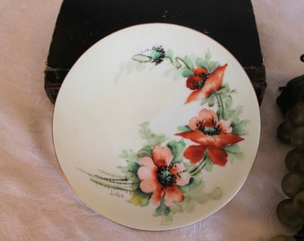 "Antique Hand Painted Porcelain 6"" Plate - Favorite Bavaria with Coral Orange Flowers and Green Background"