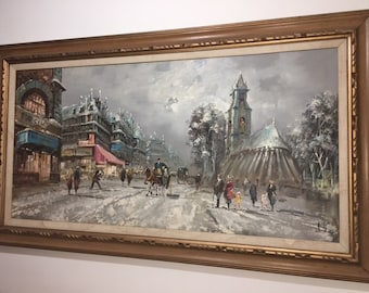 VINTAGE Oil Painting of Parisian French Winter Horse Street Scene A. Liviy 1950