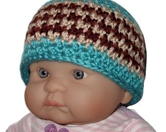 Turquoise Boys Beanie, Turquoise Khaki Baby Boys Hat, Turquoise And Brown Baby Boy Hat, Turquoise Boys Beanie, Brown Turquoise Baby Hat
