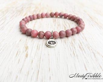 Rhodonite Bracelet, Lotus Bracelet, Mala Beads Bracelet, Lotus Jewelry, Boho Gemstone Bracelet, Buddhist Jewelry, Healing Crystal Bracelet