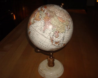 """Desk Top World Globe With Marble Base 11 1/4"""" Tall"""
