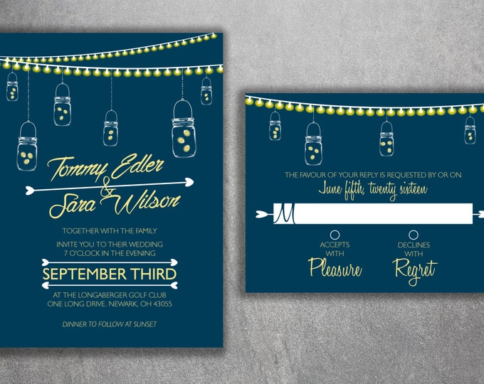 Mason Jar Wedding Invitations Set, Country Wedding Invitations, Rustic Wedding Invitation, Lights, Southern, Fireflies, Blue, Yellow, Night