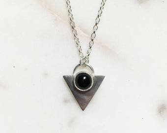 Art Deco Inspired Silver and Onyx Pendant
