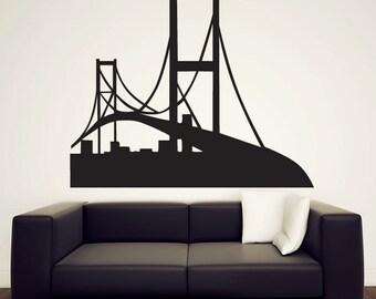 "Golden Gate Bridge Wall Decal  - Vinyl Sticker - San Francisco - 46"""