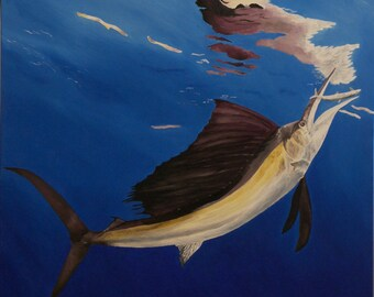 "Sailfish Oil Painting, Fish Painting, Original Oil Painting, Water reflections (20"" x 20"")"