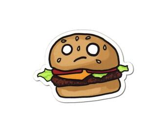 Cheeseburger Sticker, Laptop Sticker, Car Sticker, Bumper Sticker, Vinyl Sticker, Cute Food, Funny Food, Cute Burger, Skateboard Sticker