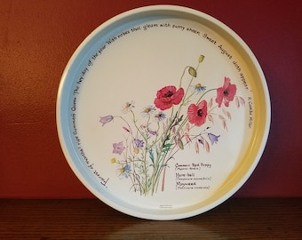 Vintage Webb & Bower Tin Cannister, round with flowers and quotes