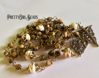 Unbreakable Rosary, Catholic Rosary, mans rosary, wire wrapped Rosary, Bronze Rosary